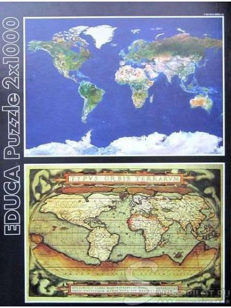 1000 элементов пазл 2 в 1 Карты мира 13296 EDUCA