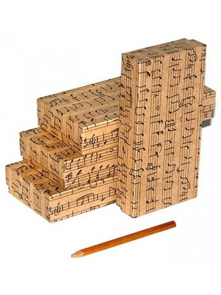 Коробка крафт 13/651 Нотный стан прямоугольник плоский 8 х 16,5 х 3 см