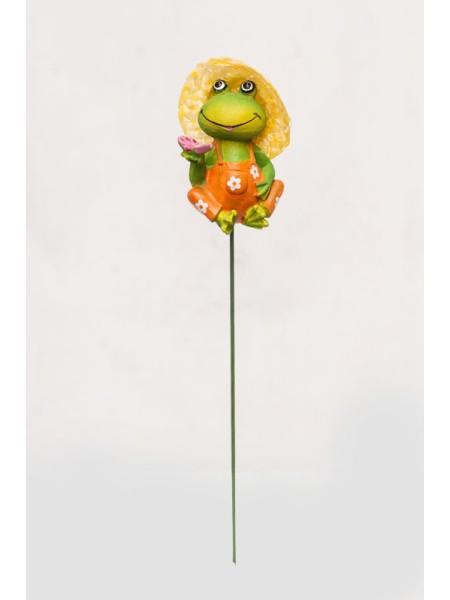 Фигурка на штекере Лягушка в шляпке 6 х 20 см 1 шт KXY14A5408