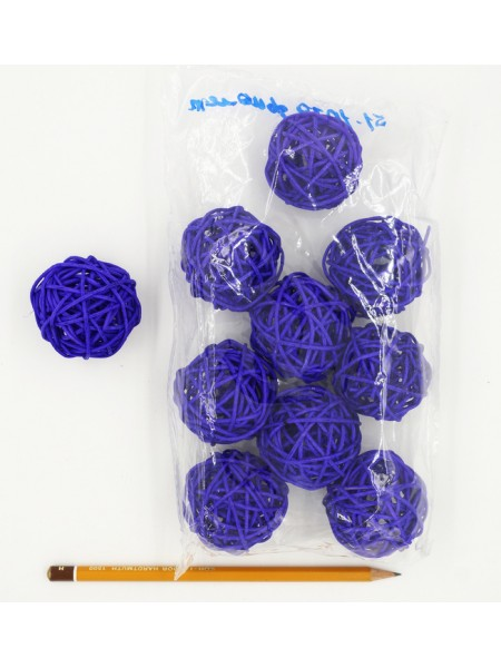 Набор шаров ротанг 5 см 10 шт цвет фиолетовый