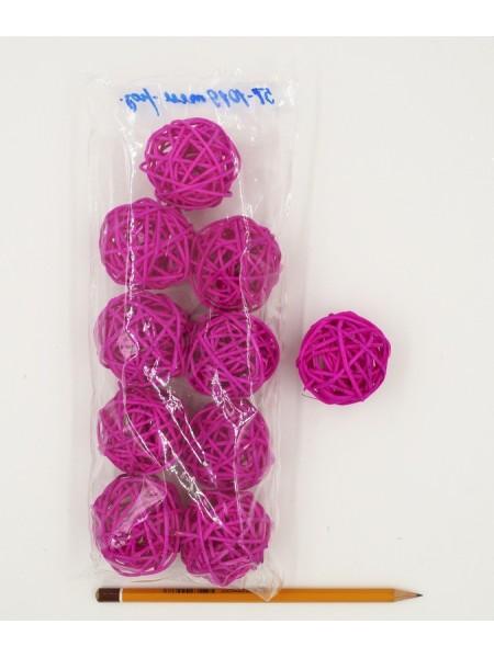 Набор шаров ротанг 5 см 10 шт цвет темно-розовый