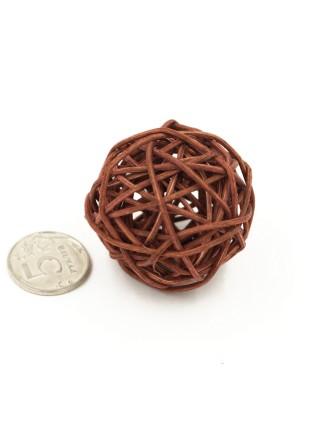 Набор шаров ротанг 5 см 10 шт цвет коричневый