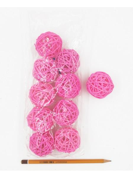 Набор шаров ротанг 5 см 10 шт цвет розовый
