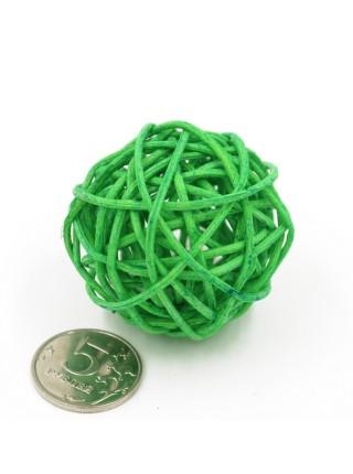 Набор шаров ротанг 5 см 10 шт цвет зеленый