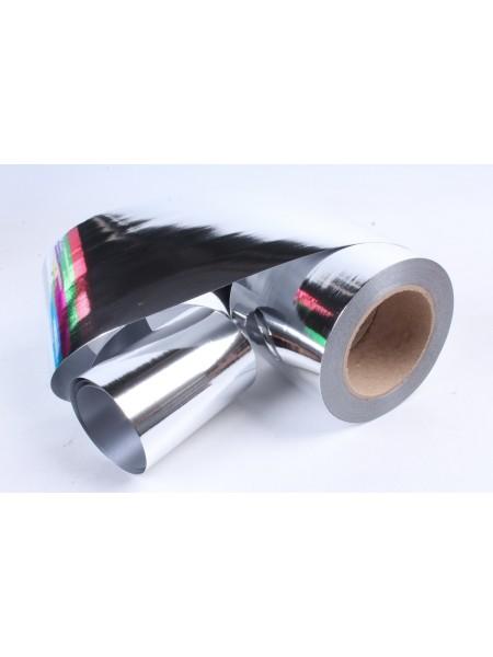 Лента металл 10 см х 50 ярд цвет серебро М1044