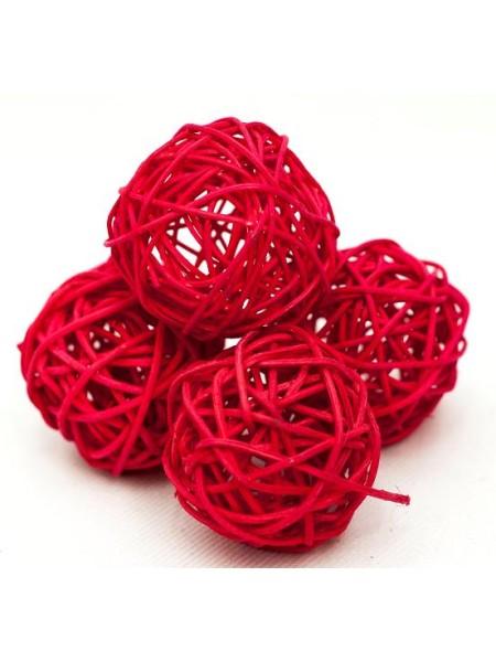 Набор шаров ротанг 5 см 10 шт цвет красный