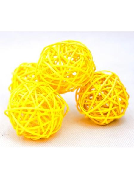 Набор шаров ротанг 5 см 10 шт цвет желтый
