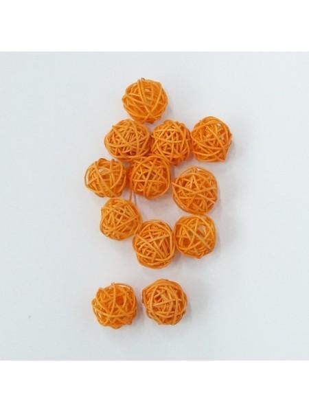 Набор шаров ротанг 3 см 12 шт цвет оранжевый