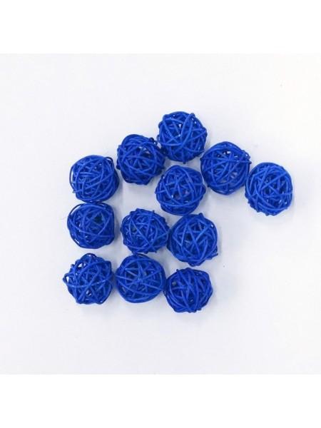 Набор шаров ротанг 3 см 12 шт цвет синий