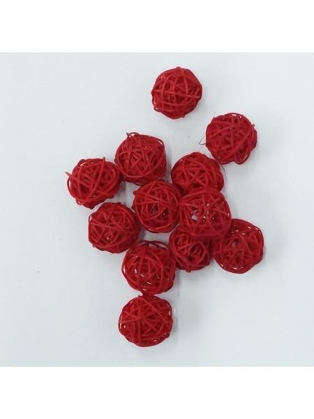 Набор шаров ротанг 3 см 12 шт цвет красный