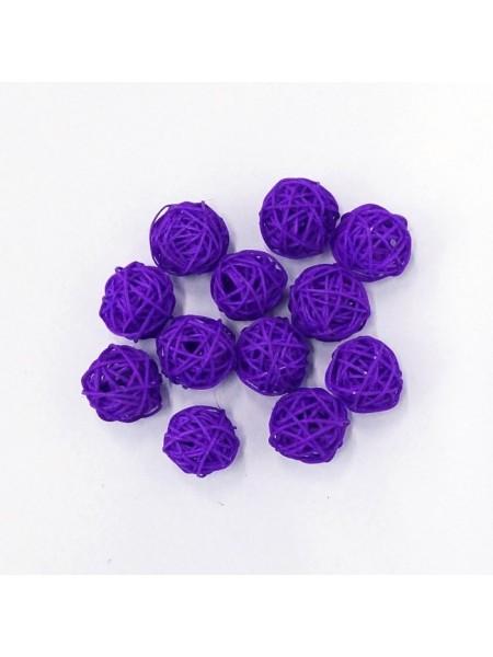 Набор шаров ротанг 3 см 12 шт цвет фиолетовый