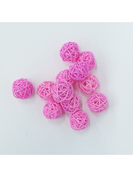 Набор шаров ротанг 3 см 12 шт цвет розовый