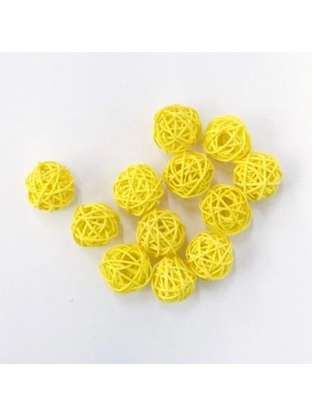 Набор шаров ротанг 3 см 12 шт цвет желтый