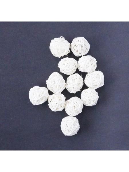 Набор шаров ротанг 3 см 12 шт цвет белый