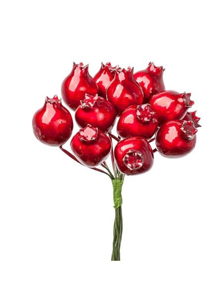 Ягода глянцевая на вставке  D2 х 3 х L10 см набор 12 шт цвет Красный