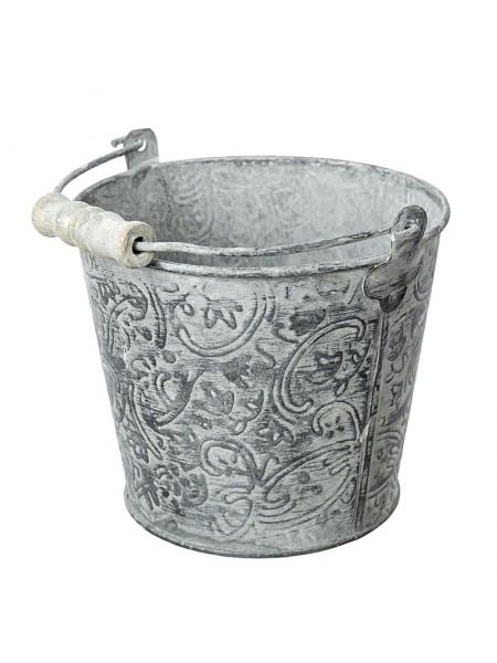 Кашпо металл ведерко Винтаж D13 х H11,5 см цвет серый Арт. 541638013802