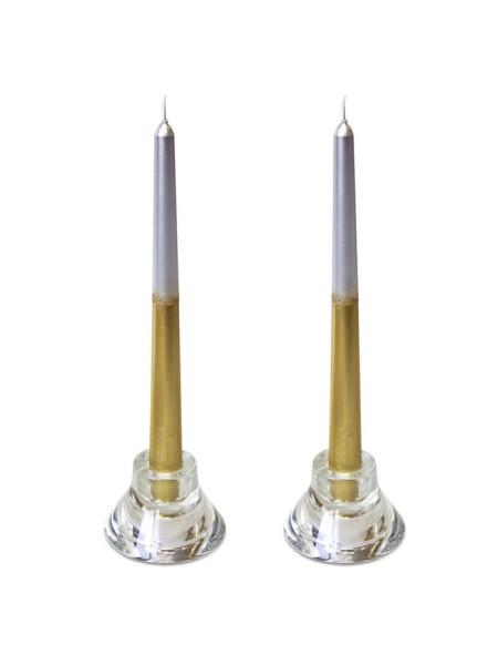 Свеча античная набор 2 шт цвет серебристо-золотой
