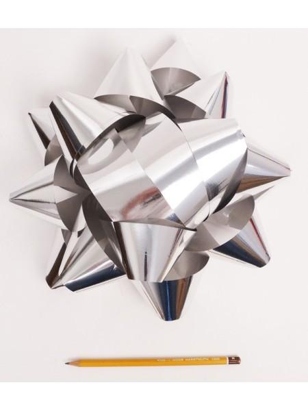 Бант Звездочка 25 см цвет серебрянный