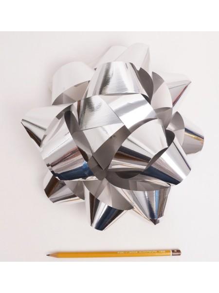 Бант Звездочка 20 см цвет серебрянный