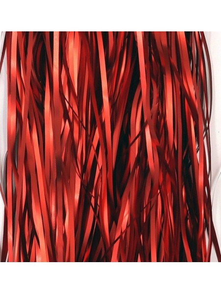 Дождик фольга-сатин 13 см х 1 м цвет красный HS 34-3