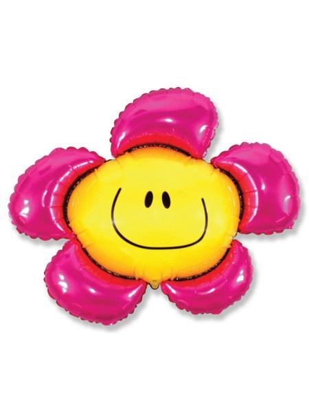 """Фольга шар Цветочек солнечная улыбка фуксия 41""""/102,5 см 1шт"""