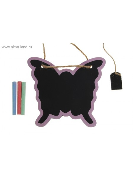 Доска под мел Бабочка на подвесе + 3 цветных мелка + губка