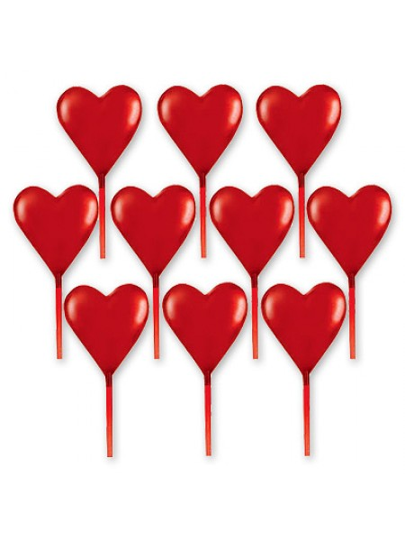 Пика для канапе пластиковая Сердце 7,6 см х 10 шт