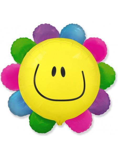 """Фольга шар Цветик - многоцветик солнечная улыбка 30""""/75 см 1 шт Испания"""