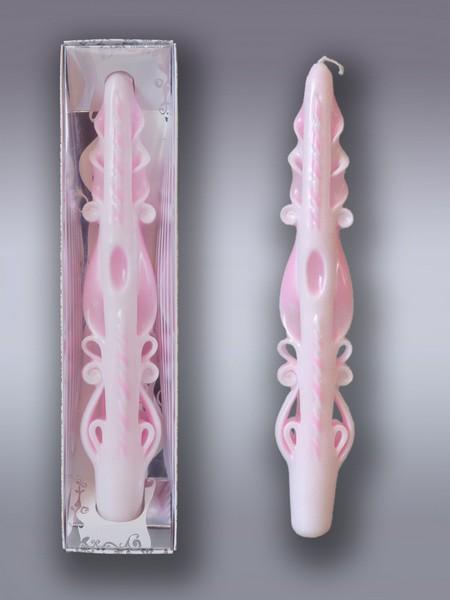 Свеча античная Резная №2 цвет розовый