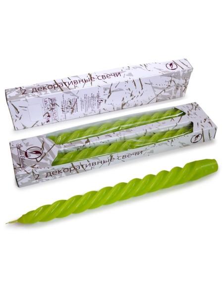 Свеча витая упаковка 2 шт цвет зеленый