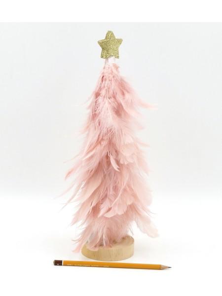Елка 33 см перо со светодиодами на подставке цвет розовый HS-58-7