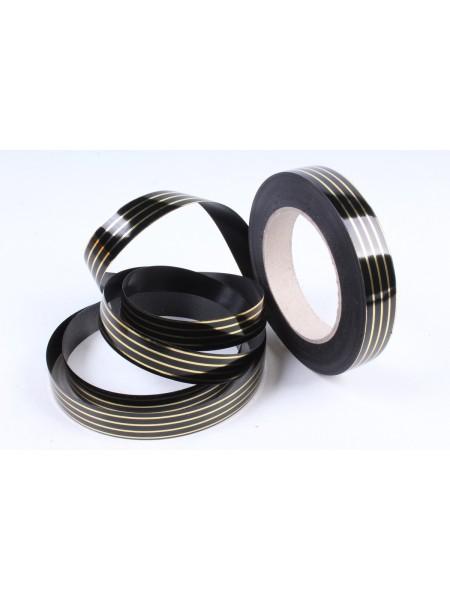 Лента с золотой полосой 2см х 50 ярд Многополоска А2005 черный