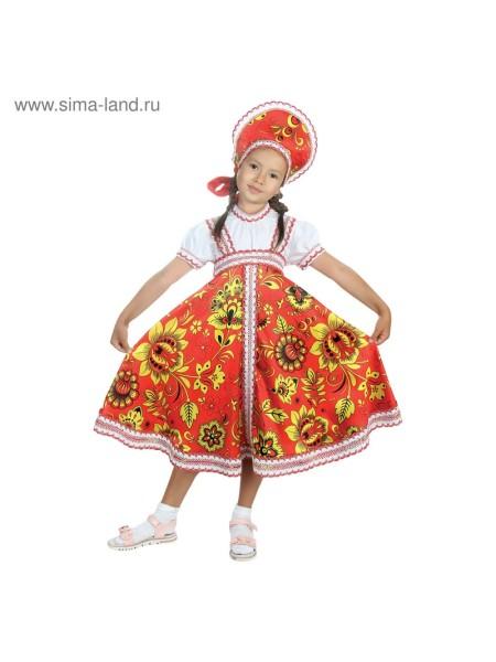 Костюм  Хохлома платье, кокошник красный р 34, рост 134 см