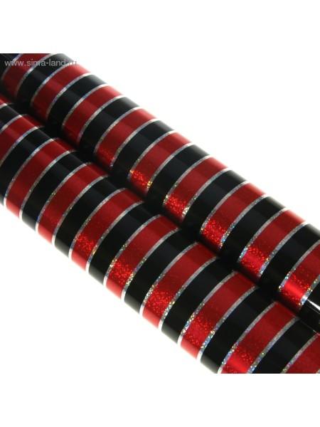 Бумага голография Полоска цвет черно - красный 70 х 100 см 1/10