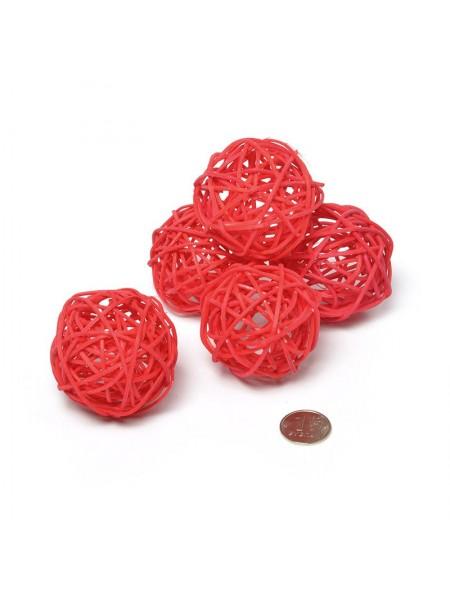 Шар плетеный ротанг D5 см набор 12 шт цвет красный