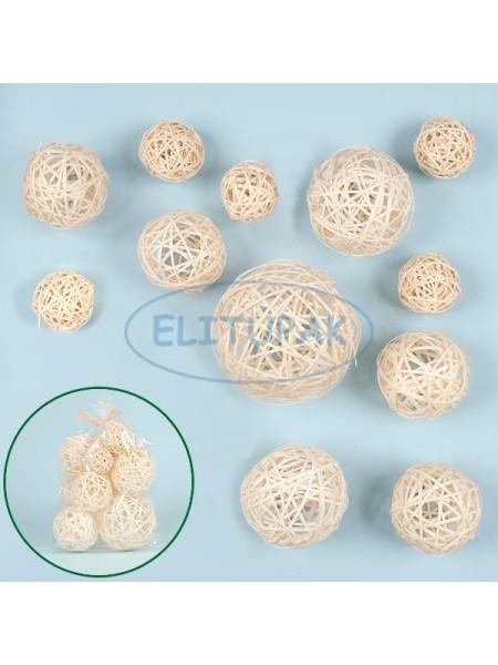 Набор плетенных шаров ассорти цвет белый 5,5 - 12 см 12 шт