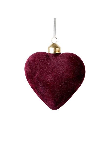 Подвеска Сердце 10 см стекло бархат цвет кремовый/розовый/бордо АВТ610820