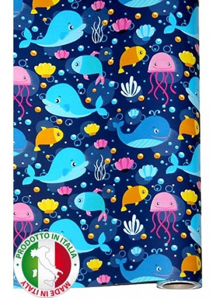 Бумага капелла 41/891-55 Океанариум на синем 100 см х 10 м рулон