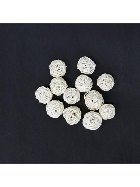 Набор шаров ротанг 2 см 12 шт цвет белый