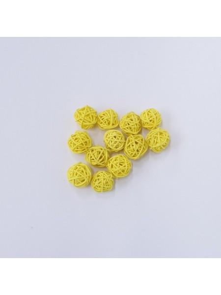Набор шаров ротанг 2 см 12 шт цвет желтый