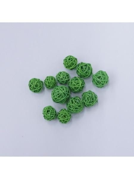Набор шаров ротанг 2 см 12 шт цвет зеленый