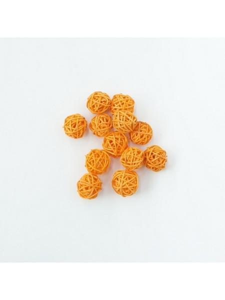 Набор шаров ротанг 2 см 12 шт цвет оранжевый