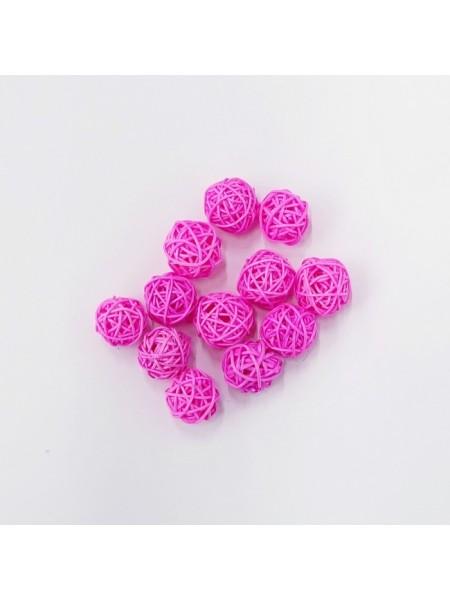 Набор шаров ротанг 2 см 12 шт цвет розовый