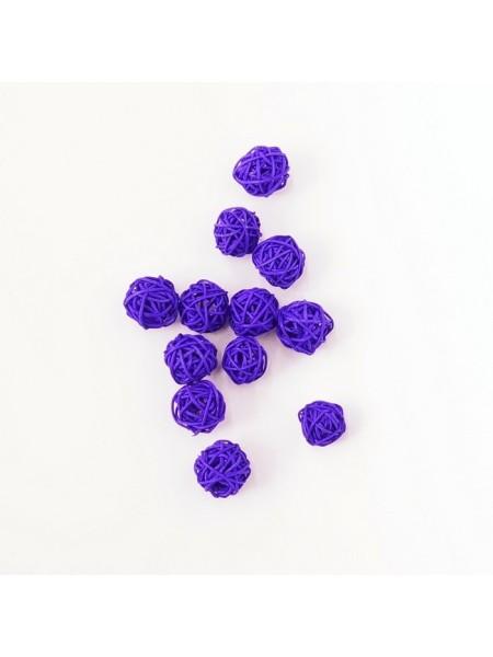 Набор шаров ротанг 2 см 12 шт цвет фиолетовый