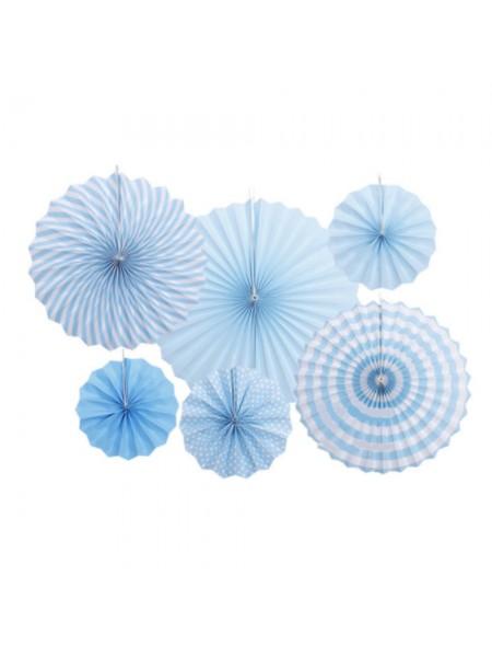 Фант подвеска набор 6 шт бумага однотон/полоска/горох цвет голубой