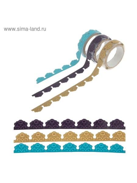 Клейкая лента Цветы микс длина 1 м текстиль декоративная