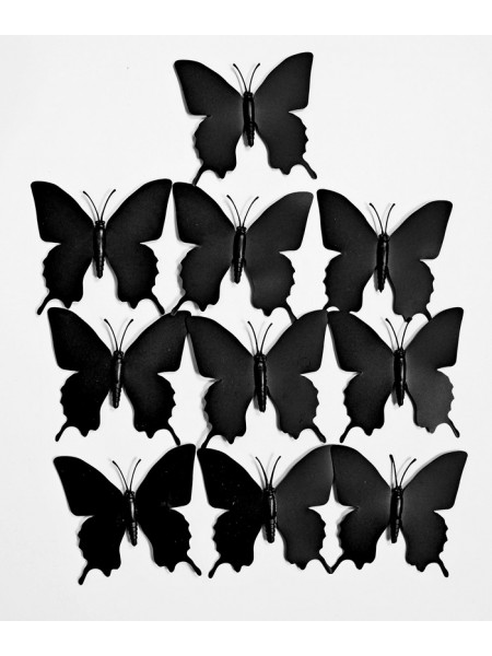Бабочка на магните набор 10 шт 7,5 х 7,5 см пластик цвет черный