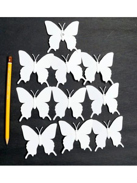 Бабочка на магните набор 10 шт 5,5 х 5,5 см пластик цвет белый