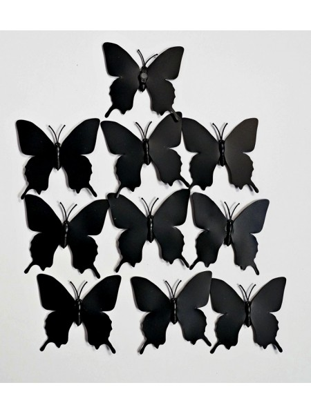 Бабочка на магните набор 10 шт 5,5 х 5,5 см пластик цвет черный