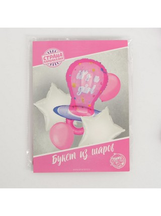Букет шаров С рождением Девочка набор 5 шт
